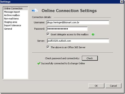 Configuração Microsoft Online - PST Capture